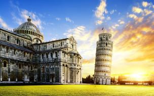 города, пиза , италия, башня