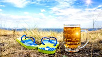 лето, пиво, небо, поле