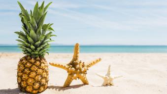 еда, ананас, пляж, песок, звезда, морская