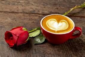 капучино, кофе, бутон, роза, рисунок