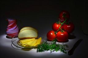 хлеб, еда, помидоры, томаты, зеленб