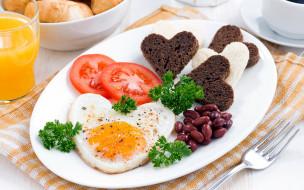 еда, Яичные блюда, глазунья, яичница, хлеб, фасоль