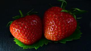 еда, клубника,  земляника, ягоды, дуэт