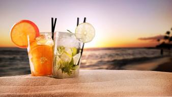 еда, напитки,  коктейль, пляж, песок, коктейли, лед