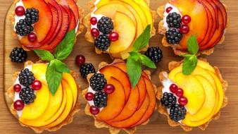 еда, пирожные,  кексы,  печенье, ягоды, ежевика, мята