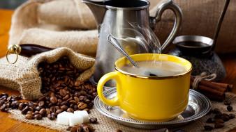 кофе, джезва, зерна, сахар, пар