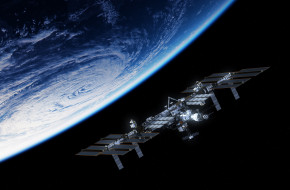 space station, satellite, planet