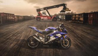 Yamaha, мото, контейнер, Мотоцикл, вечер, Yamaha R6, Ямаха Р6, sportbike, погрузчик