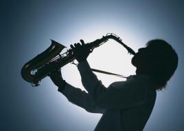 профиль, силуэт, саксофон, человек