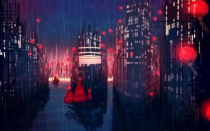 дождь, огни, лодки, дома, город, фонарики