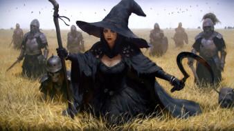 armor, skeletons, sickle, weapon, helmet, hat, fantasy art, artwork, necromancer, crow, field, staff, sword, stick, Witch