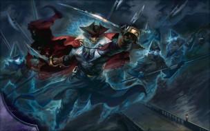 skull, fantasy, cape, weapons, digital art, artwork, souls, fantasy art, sword, helmets, spear, Drogskol Captain, hat, ghosts, pirate
