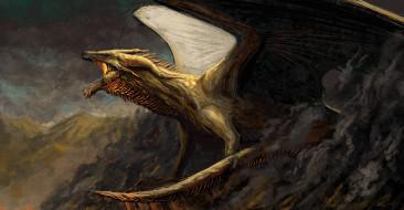 мощь, дракон, арт, фэнтези, горы, крылья, пасть