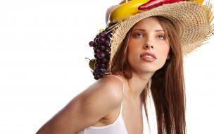 девушки, -unsort , лица,  портреты, фрукты, шляпа, майка, шатенка, виноград