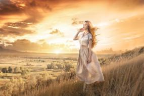 девушки, -unsort , блондинки,  светловолосые, волосы, damien, prokhorov, вид, настроение, девушка, трава, небо, закат