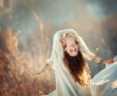девушки, -unsort , брюнетки, темноволосые, анна, мельникова, волосы, боке, настроение, девушка, царевна-лебедь, платье, поза, руки