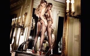 девушки, -unsort , блондинки,  светловолосые, зеркало, ножки, блондинка