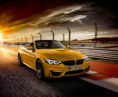 автомобили, bmw, бмв, желтый, кабриолет, скорость, тучи, дорога, трасса, шоссе