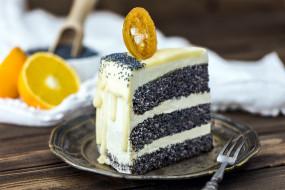 маковый, торт, апельсин