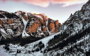 горы, снег, деревья