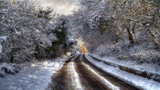зима, дорога, снег