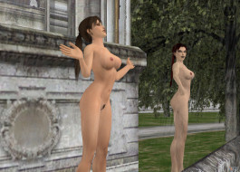 эро-графика, 3д-эротика, девушки, взгляд, фон, грудь