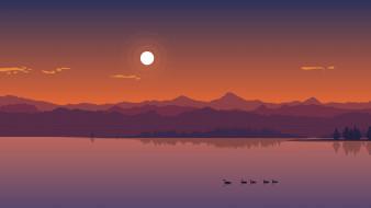 природа, озеро, утки, горы, пейзаж