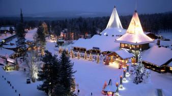 праздничные, новогодние пейзажи, иллюминация, снег, елки