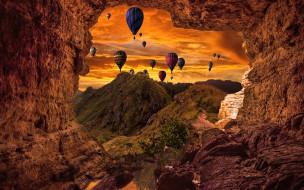 авиация, воздушные шары, шары, воздушные, пещера