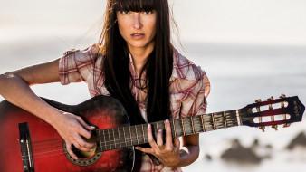 музыка, -другое, взгляд, девушка, гитара