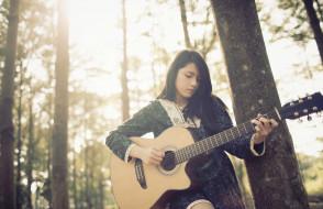 музыка, -другое, деревья, гитара, девушка