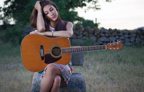 музыка, -другое, камни, гитара, девушка, природа
