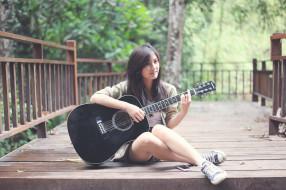 музыка, -другое, гитара, природа, взгляд, девушка