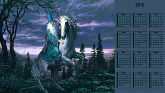 календари, фэнтези, лошадь, взгляд, маг, шляпа, природа, старик