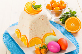 праздничные, пасха, кулич, яйца, апельсин, творожный