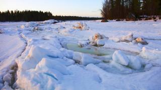 лёд, река, лес, Зима