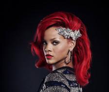 красные волосы, певица, Rihanna, серьги