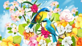 цветы, птицы, фон
