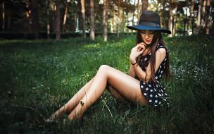 лес, платьице, шляпка