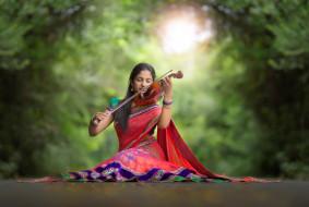 музыка, -другое, природа, скрипка, девушка