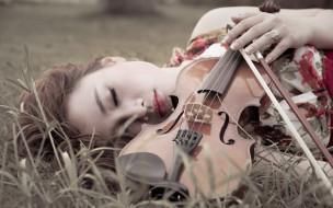 музыка, -другое, девушка, скрипка, отдых, сон, природа