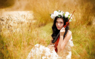 музыка, -другое, девушка, взгляд, скрипка, венок, природа