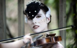 музыка, -другое, девушка, скрипка, лицо, взгляд