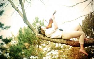 музыка, -другое, шляпа, скрипка, девушка, природа, дерево