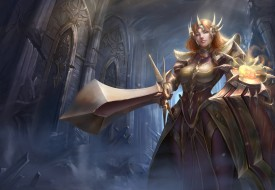 фон, девушка, взгляд, меч