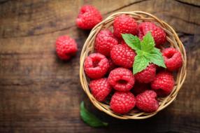 корзинка, малина, мята, ягоды