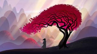 Samurai, artwork, man, leaves, hills, tree, art, kimono, branches