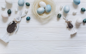 decoration, white, spring, белые, голубые, wood, bunny, Easter, яйца, Пасха, tender, Happy, blue, eggs