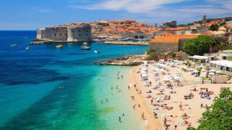 пляж, крепость, дома, море, люди