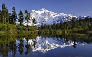 горы, лес, деревья, озеро, отражение